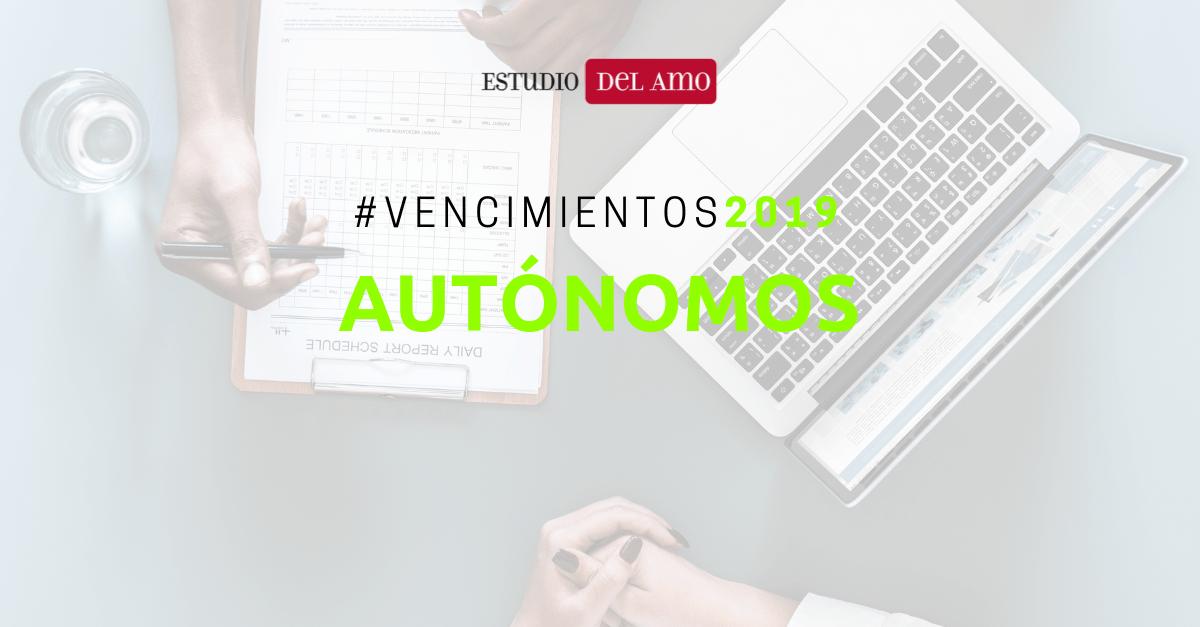 Calendario Autonomos 2019.Vencimientos 2019 Autonomos